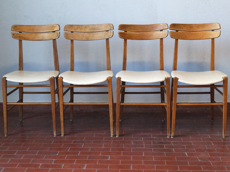Set 4 sedie stile danese anni 70 in legno e sky 20th for Sedie design anni 20
