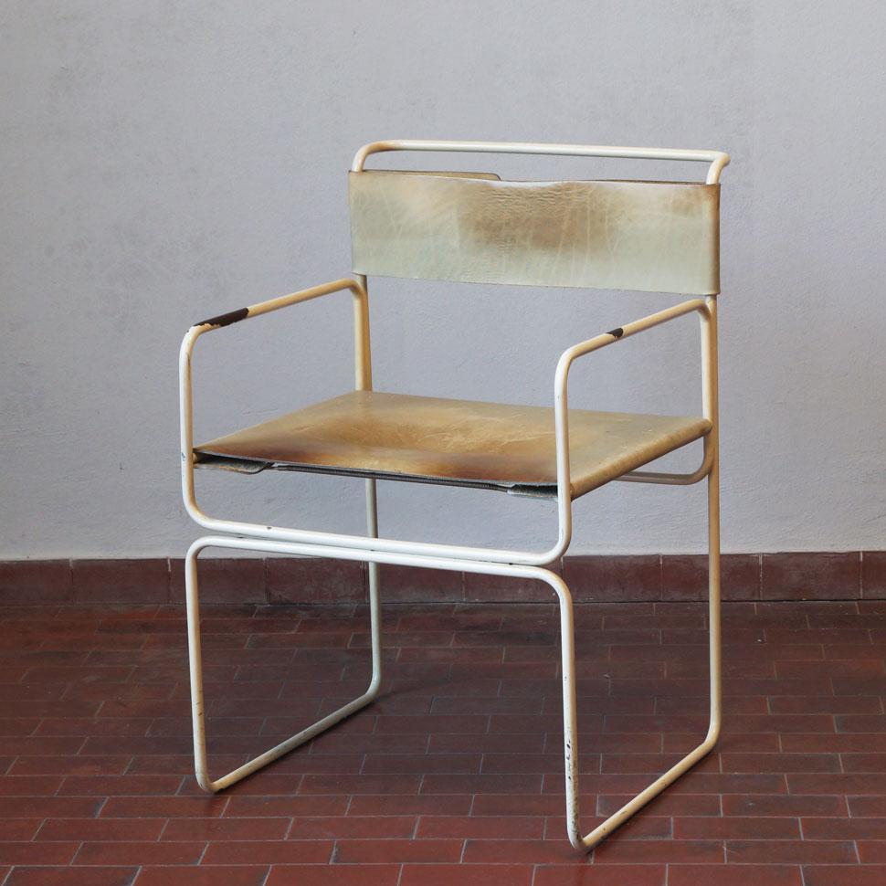 Sedia planula metallo bianco e cuoio 20th century design for Sedia design anni 70