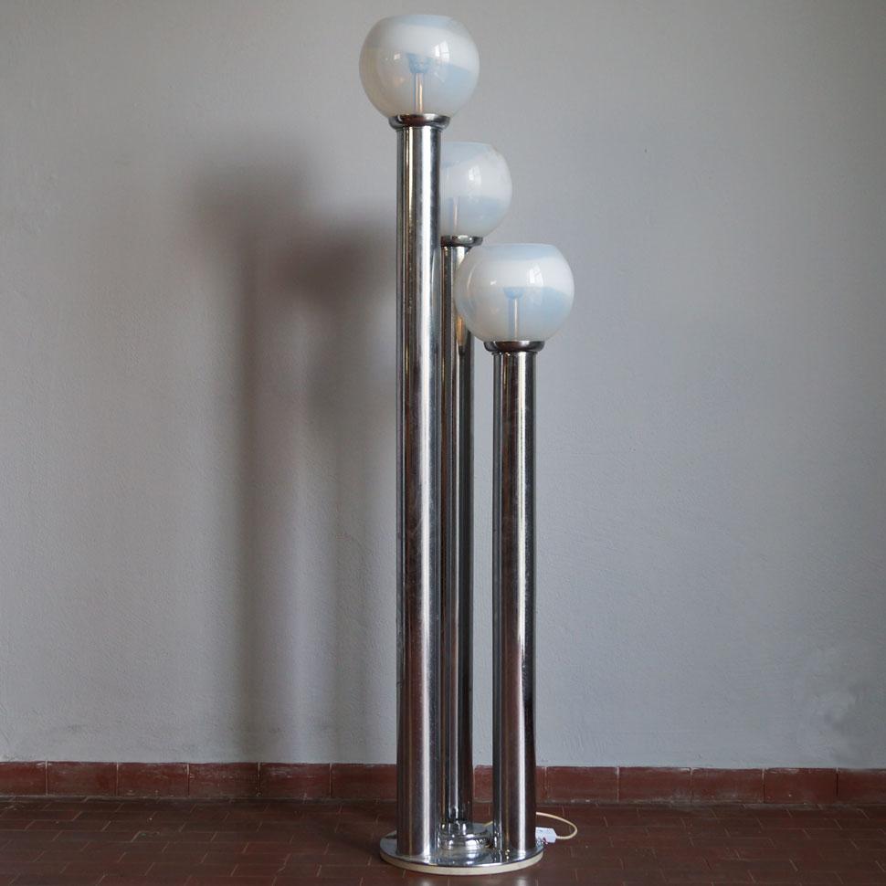 Piantana Anni 70.Piantana Tre Steli Cromo Anni 70 20th Century Design